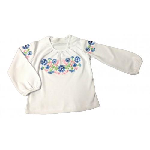 Блуза реглан «Вишиванка» для дівчинки з довгим рукавом (Інтерлок, фулікра)