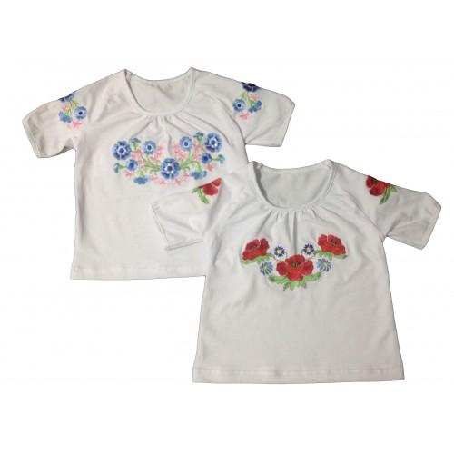 Блуза - реглан «Вишиванка» для дівчинки з коротким рукавом (Віскоза)
