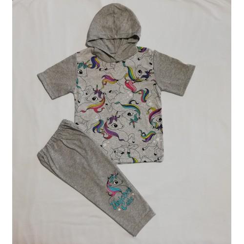 Комплект: футболка з капюшоном і треси з накатом (кулір , стрейч-кулір)