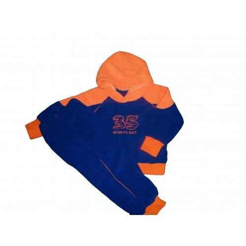 Костюм: батник с капюшоном и вышивкой, брюки на манжетах (махра начесная)