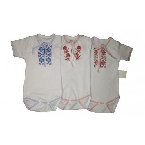 Боді – вишиванка на 2-х кнопках з коротким рукавом (Білий інтерлок)