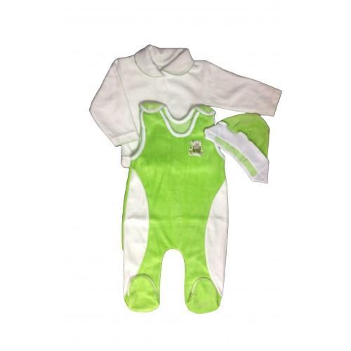 Комплект «Baby»: кофточка с воротником, ползуны на кнопках, чепчик (велюр)
