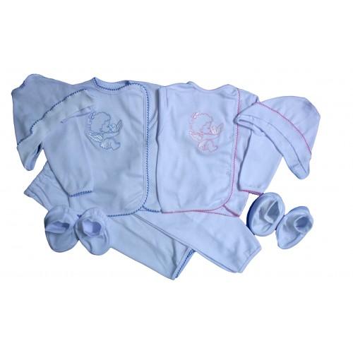 Комплект с вышивкой «Ангелочек»: кофта, брючки, пинетки, чепчик (белый интерлок)