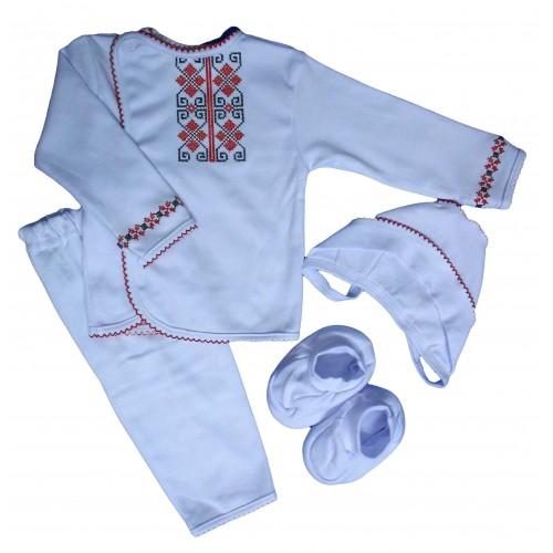 Комплект «Вышиванка»: кофта, брючки, пинетки, чепчик (белый интерлок)