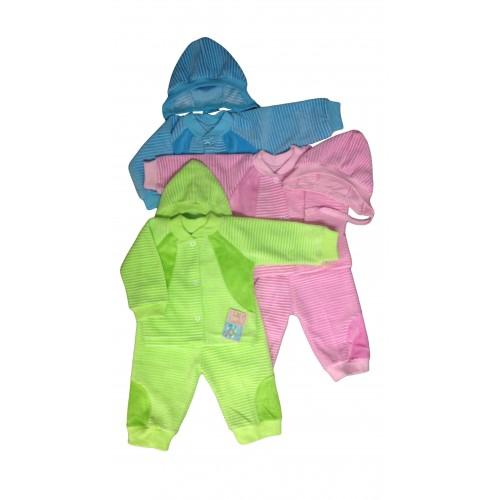 Комплект «Малыш»: кофточка, штанишки на манжетах, шапочка комбинированные (велюр)