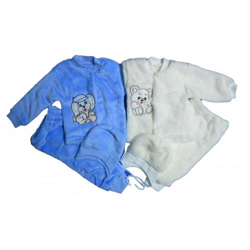 Комплект «Пушистик»: кофточка с вышивкой, штанишки, шапочка с ушками (махра рваная)