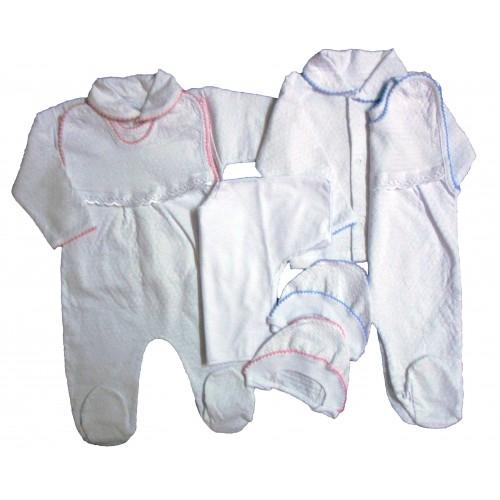 Комплект «Новорожденный»: кофта, ползуны на пуговице, распашонка, чепчик (белая жатка)