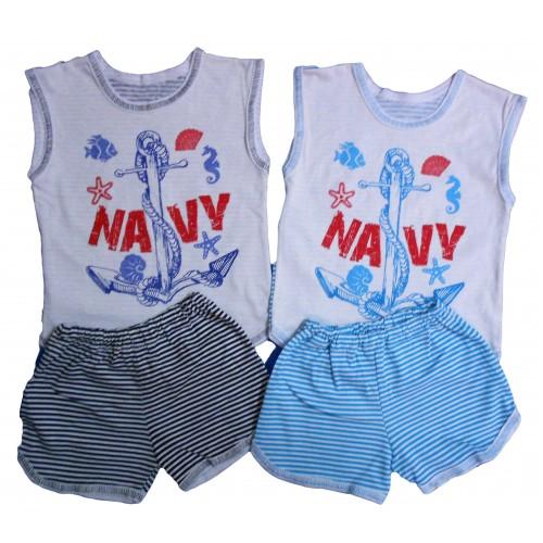 Комплект «Морячок»: безрукавка комбинированная с аппликацией, шорты комбинированные (кулир)